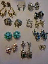 Lot Of 12 Vintage Clip On Screw Back Earrings Rhinestones Beads Bogoff U... - $41.79