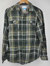 Columbia Double Crown Plaid Men's L/S Shirt Green Yellow AM1068 Cotton Twill M - $28.66