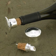 Personalized Wine Bottle Stopper - Wine Pourer - Silver Plated - $24.74