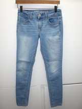 J2808 Womens AMERICAN EAGLE Juniors Blue Denim Light Wash JEGGING Skinny... - $32.79