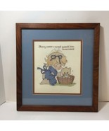 """Girl Cat Bath Finished and Framed Cross Stitch Solomon's Song 8:7 16"""" x 15"""" - $24.18"""
