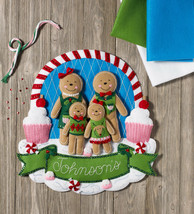 Bucilla - 'Gingerbread Family' - Felt Christmas Wall Hanging Applique Ki... - $35.99