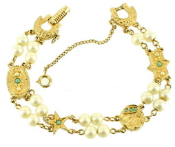 VINTAGE STUNNING SLIDE STYLE FAUX TURQUOISE PEARLS DOUBLE ROW BRACELET 7... - $53.99