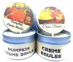 COMBO Creme Brulee and Pumpkin Creme Brulee Set of Two- 4oz Soy Tin Candles - $13.35
