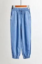 Light Blue Drawstring Elastic Waisted HAREM PANTS Denim CROP PANTS Trousers NWT image 1
