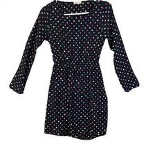 everly women's medium * black long sleeve color polka dot Midi dress ope... - $23.38