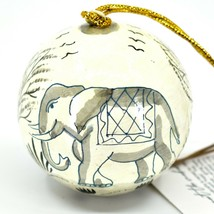 Asha Handicrafts Painted Papier-Mâché Grey Elephant Holiday Christmas Ornament image 2
