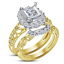 925 Sterling Silver 14k Gold Plated Princess Cut White CZ Womens Bridal ... - $87.99