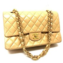 AUTHENTIC CHANEL Matelasse 25 Lambskin Leather Double Chain Shoulder Bag... - $1,890.00