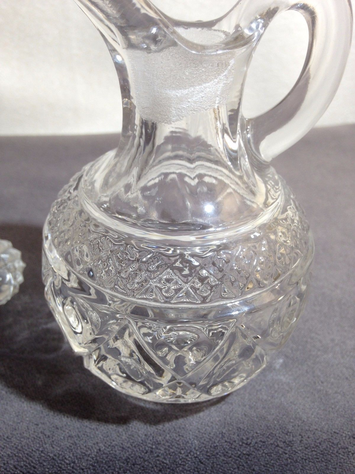 "Imperial Glass 160-116 CAPE COD Diamond Star Clear Cruet 3 1/2"" Tall w Stopper"