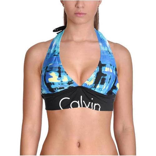 NEW Calvin Klein Womens Printed Halter Swim Top Separates CG7TP442 Medium Blue - $24.74