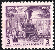 1955 Early Railroad Scene Canal Zone Postage Stamp Catalog Number 147 MNH