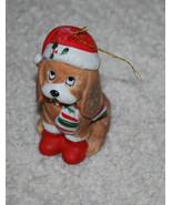 Vintage House of Lloyd 1988 Sad Eyes Puppy Dog Santa Hat Christmas Ornam... - $14.80