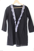 NWT Gottex Profile Blush Black Cotton White Lace Up Swim Cover Up Top Dr... - $19.20