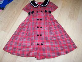 Girls Size 5 Bonnie Jean Christmas Holiday Dress Red Black Plaid Velour ... - $22.00