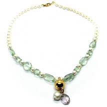 18K ROSE GOLD LARIAT NECKLACE WHITE FW PEARLS, PRESIOLITE, AMETHYST PENDANT image 1