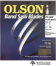 "Olson Band Saw Blade 71-3/4"" - 72"" inch x 1/2"", 3T, Delta 28-140, 11"" Sh... - $18.69"