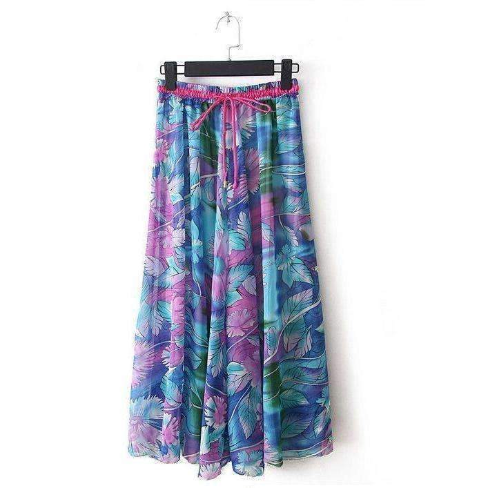 Fashionable Floral Print Chiffon Women Long Skirts
