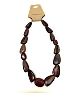 Genuine Wood & Stone Necklace Coldwater Creek Brown Deep Red 21 inches Long - $34.64