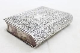 Judaica Vintage Silver Filigree Tzedakah Charity Box Book Design image 4