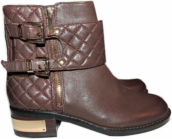 Vince Camuto WINTA Brown Leather Boots Flat Riding Moto Quilted Booties 7.5