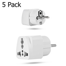 5 Pack - USA US UK AU To EU Europe Travel Power Adapter Converter Wall P... - ₹1,024.00 INR