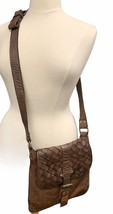 Civico93 Crossbody Handbag Bag  Woven Made In Italy Genuine Leather Brown - $41.40