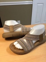 AEROSOLES Wip Gloss Taupe Tan Wide Strap Slingback Sandals 8 medium - $12.19