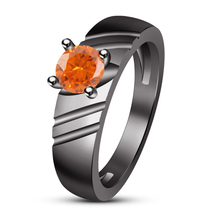 Women's Orange Sapphire Wedding Solitaire Ring 14k Black Gold Plated 925... - $78.65