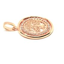 Pendant Tree of Life Gold 18K 750 Pink and Zircon Cubic Made in Italy image 7