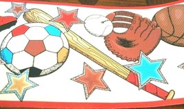All Sports Star Boys White Wallpaper Border Red Trim Football Soccer Bas... - $14.81