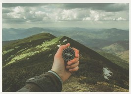 Stopwatch Clock For Mountain Climb Crossing Record Attempt Postcard - $4.99