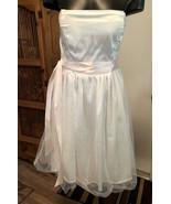 LAE Strapless Mini Dress Womens Juniors XS Ivory White Pink Ribbon Forma... - $24.74