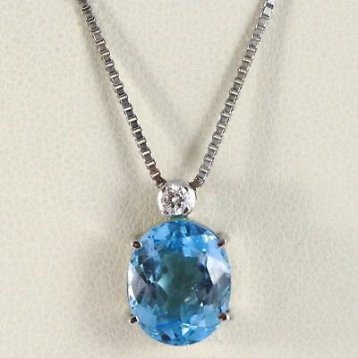 18K WHITE GOLD NECKLACE, PENDANT WITH OVAL BLUE TOPAZ & DIAMOND, VENETIAN CHAIN