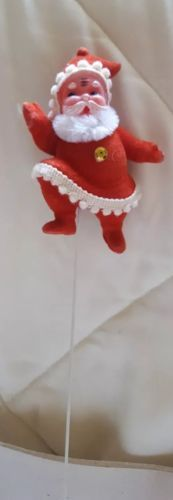 Primary image for VINTAGE PLASTIC flocked SANTA FLORAL PICK Christmas Xmas tree decoration used