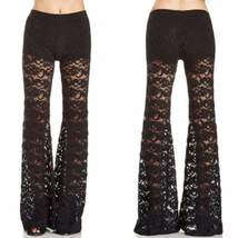 Sexy Flared Floral Lace Trousers For Women - $17.98