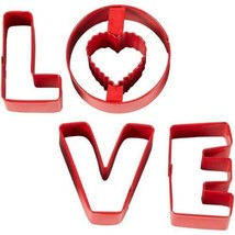 Wilton LOVE Cookie Cutters Red Metal 4 Pc Set - $4.99