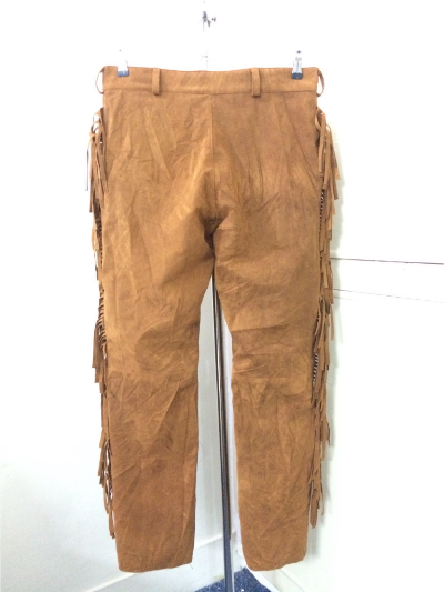 Men New Native American Style Faux Brown Suede Leather Fringes Hippie Pant P22 image 6