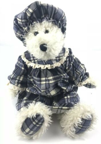 "Boyd's Bear Plush Stuffed Girl Grace Bedlington Nightgown Bonnet 16"" Plaid Blue"