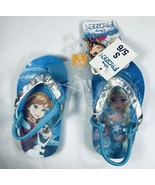 Disney Frozen Holographic Flip Flops Girls Sandals Turquoise Small 5/6 NEW - $7.92