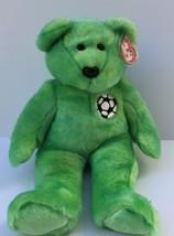 Ty Beanie Buddies Kicks the Soccer Bear Large Plush Green Soft Stuffed A... - $7.99