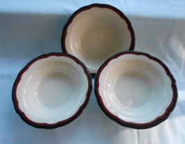 Set of 3 Buffalo China Maroon & Black Scalloped Trim Restaurant Ware Bowls - $18.95