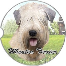 Wheaten Terrier Car Coaster Absorbent Keep Cup Holder Dry Stoneware Dogs... - $10.88