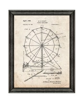 Portable Ferris Wheel Patent Print Old Look with Black Wood Frame - $24.95+