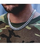 White Gold Fully Iced Out Silver Diamond Cuban Link Choker Chain - £92.07 GBP+