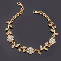 U7 Crystal Flower Leaf Charm Bracelets Gold Color Chain Rhinestone Brace... - $15.22