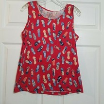 Coral Bay Women's Shirt ~ Sz PM ~ Red ~ Sandals ~ Sleeveless ~ Cotton - $14.84
