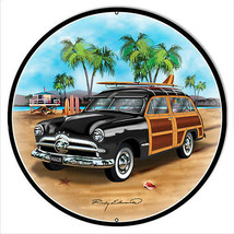 Ford Woodie Black Metal Sign By Rudy Edwards 24x24 Round - $83.16