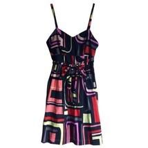 $119 XS Kensie Sweetheart Neckline Black Sundress Neon Abstract Geometri... - €27,13 EUR