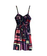 $119 XS Kensie Sweetheart Neckline Black Sundress Neon Abstract Geometri... - €25,68 EUR